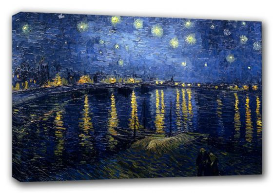 Van Gogh, Vincent: Starry (Starlit) Night over the Rhone. Fine Art Canvas. Sizes: A3/A2/A1 (00250)